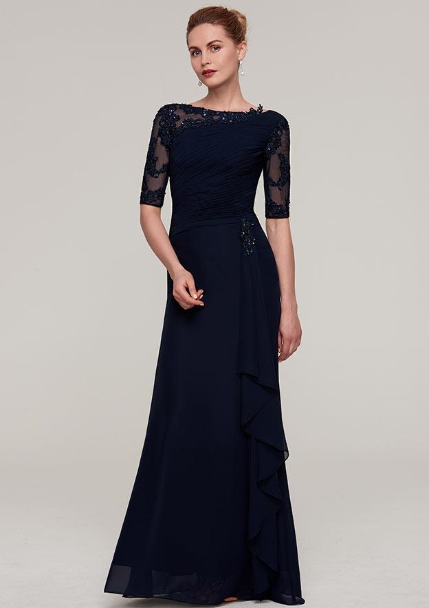 Sheath/Column Bateau Half Sleeve Long/Floor-Length Chiffon Evening Dress With Ruffles Pleated Appliqued Beading