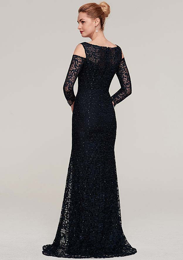Sheath/Column Bateau 3/4 Sleeve Long/Floor-Length Lace Evening Dress With Beading