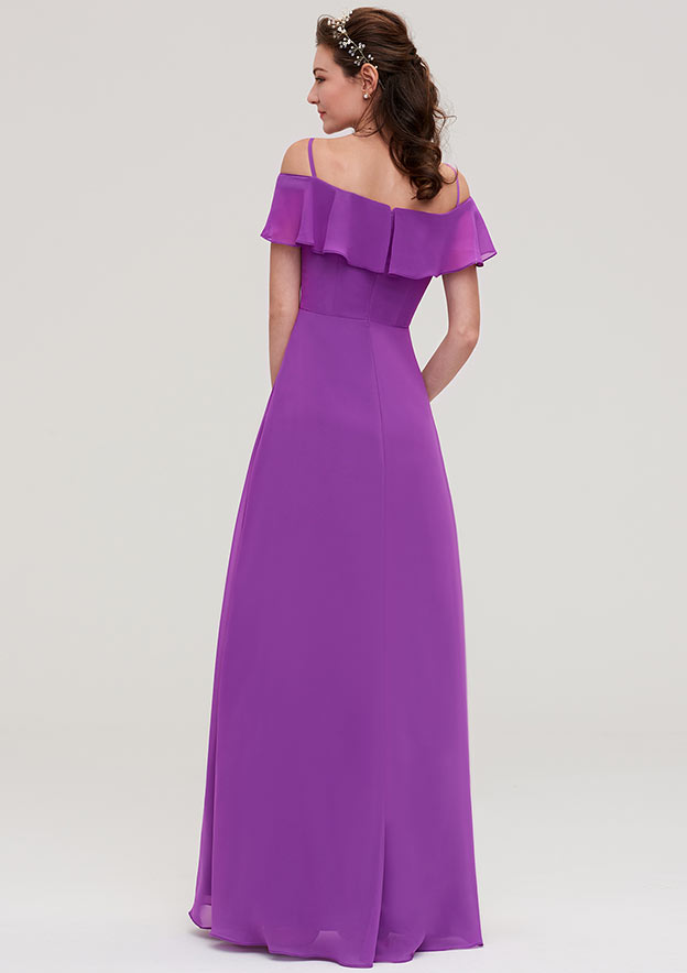 A-Line/Princess Off-The-Shoulder Sleeveless Long/Floor-Length Chiffon Bridesmaid Dresses With Ruffles