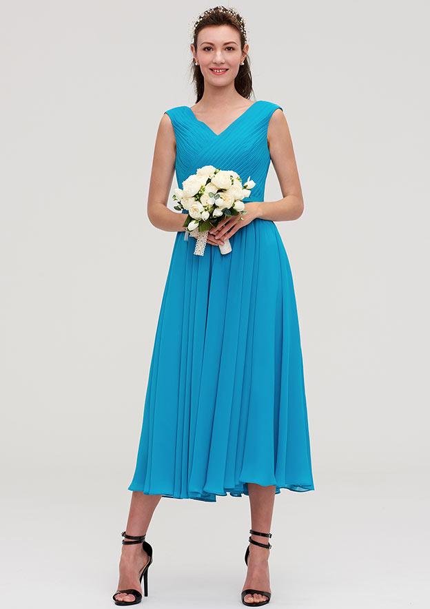 A-Line/Princess V Neck Sleeveless Tea-Length Chiffon Bridesmaid Dresses With Pleated