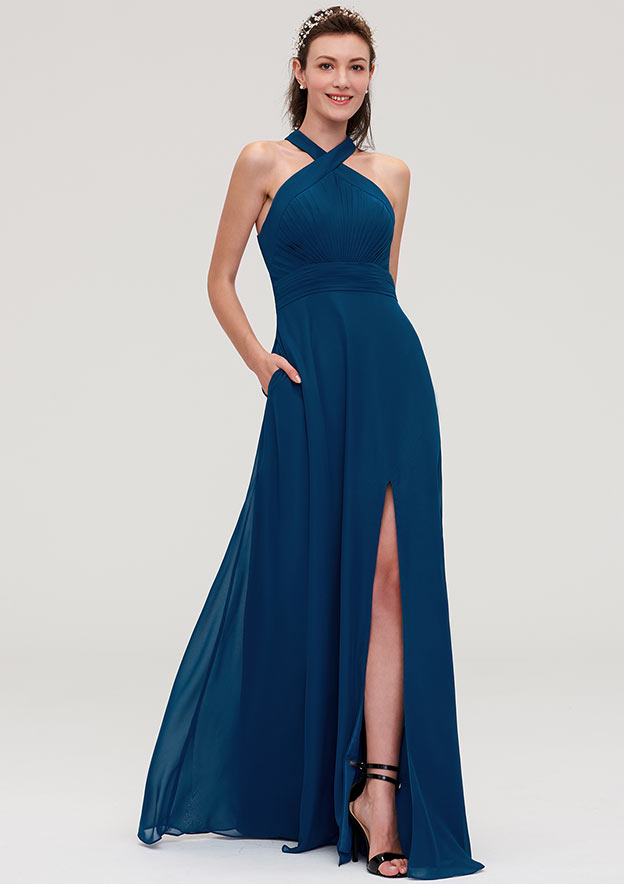 A-Line/Princess Scalloped Neck Sleeveless Long/Floor-Length Chiffon Bridesmaid Dresses With Split Pleated