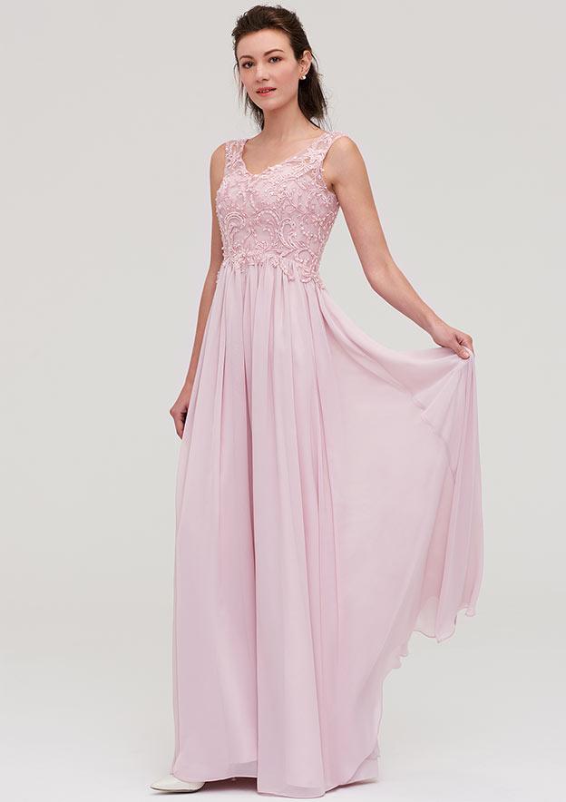 A-Line/Princess V Neck Sleeveless Long/Floor-Length Chiffon Bridesmaid Dresses With Beading Appliqued