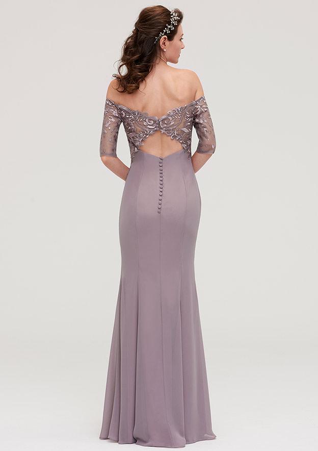 Sheath/Column Off-The-Shoulder Half Sleeve Long/Floor-Length Chiffon Bridesmaid Dresses With Appliqued