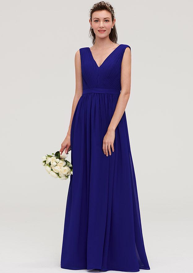 A-Line/Princess V Neck Sleeveless Long/Floor-Length Chiffon Bridesmaid Dresses With Pleated