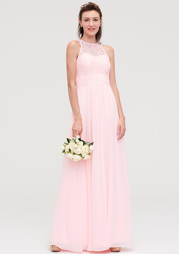 A-Line/Princess Scoop Neck Sleeveless Long/Floor-Length Chiffon Bridesmaid Dresses With Split Lace