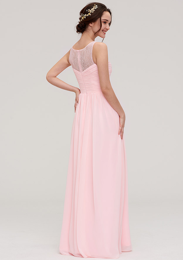 A-Line/Princess Bateau Sleeveless Long/Floor-Length Chiffon Bridesmaid Dress With Pleated Lace