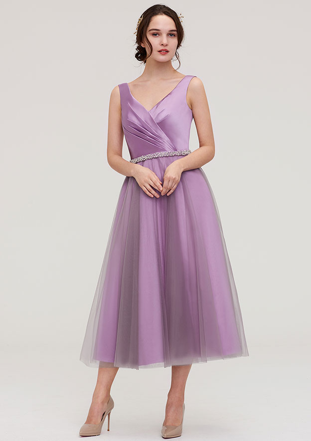 A-Line/Princess V Neck Sleeveless Tea-Length Tulle Bridesmaid Dress With Waistband Beading Pleated