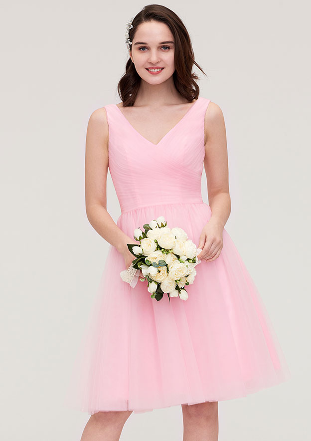 A-Line/Princess V Neck Sleeveless Knee-Length Tulle Bridesmaid Dress With Pleated