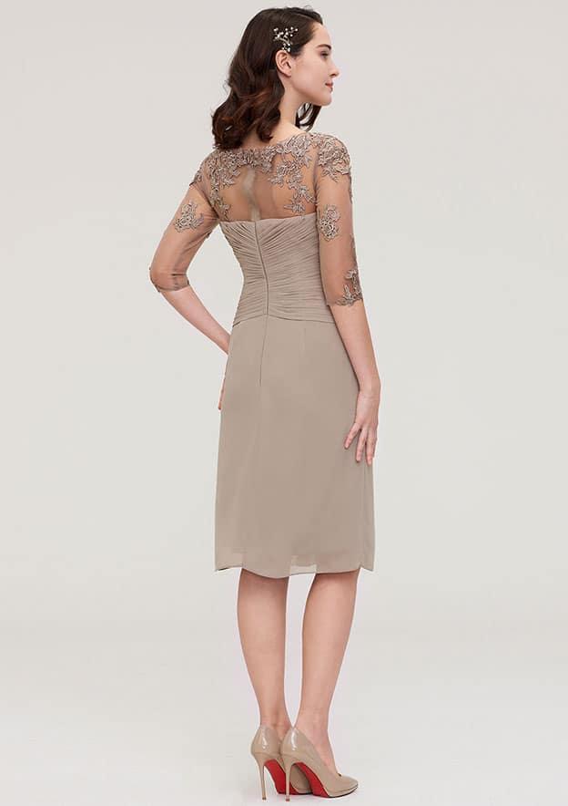 Sheath/Column Bateau Half Sleeve Knee-Length Chiffon Mother Of The Bride Dress With Jacket Appliqued Pleated