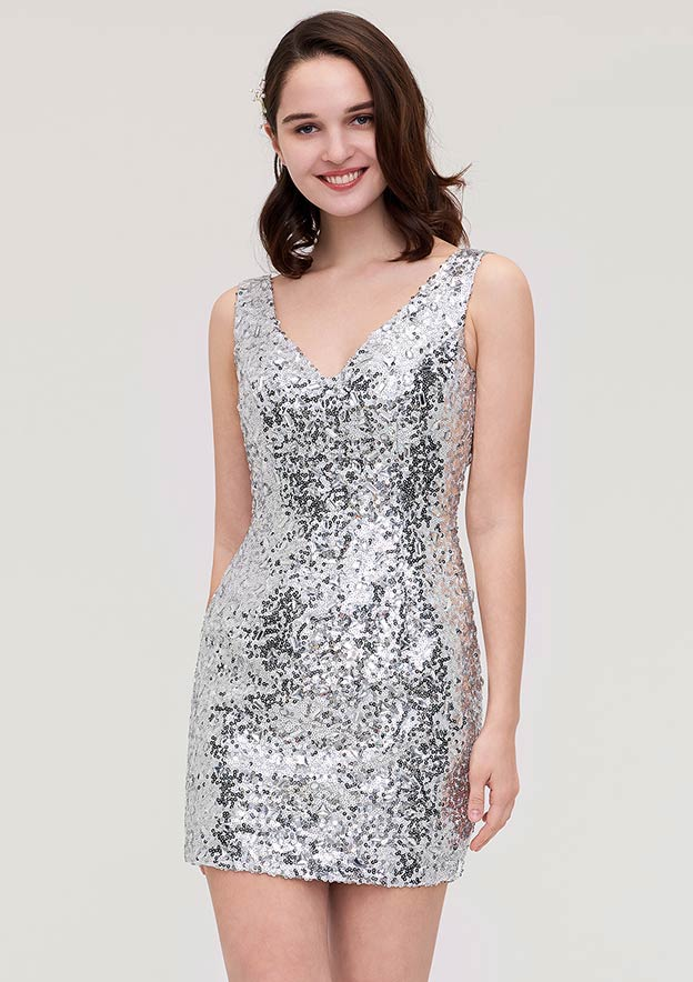 Sheath/Column V Neck Sleeveless Short/Mini Sequined Homecoming Dress