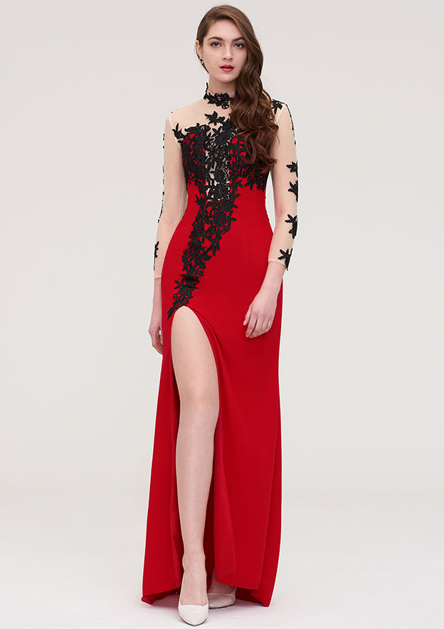 Sheath/Column High-Neck Full/Long Sleeve Long/Floor-Length Jersey Evening Dress With Appliqued
