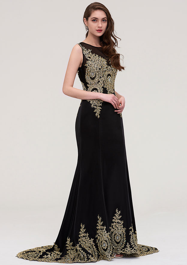 Sheath/Column Bateau Sleeveless Court Train Elastic Satin Evening Dress With Crystal Beading