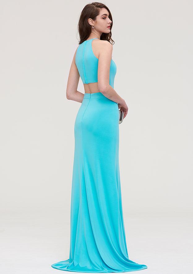 Sheath/Column Scoop Neck Sleeveless Long/Floor-Length Jersey Evening Dress With Split