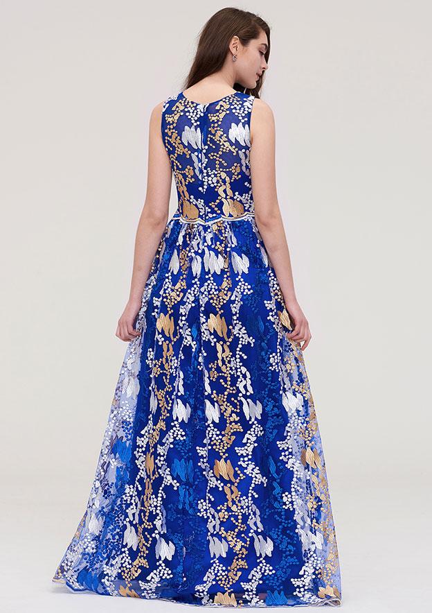 A-Line/Princess High-Neck Sleeveless Long/Floor-Length Tulle Prom Evening Dress