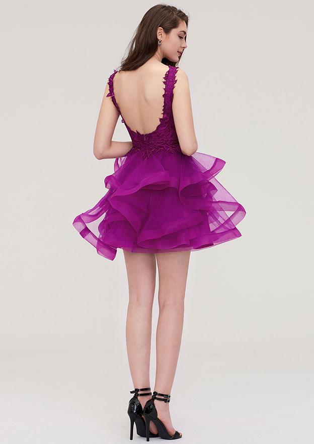 A-Line/Princess V Neck Sleeveless Short/Mini Organza Homecoming Dress With Appliqued