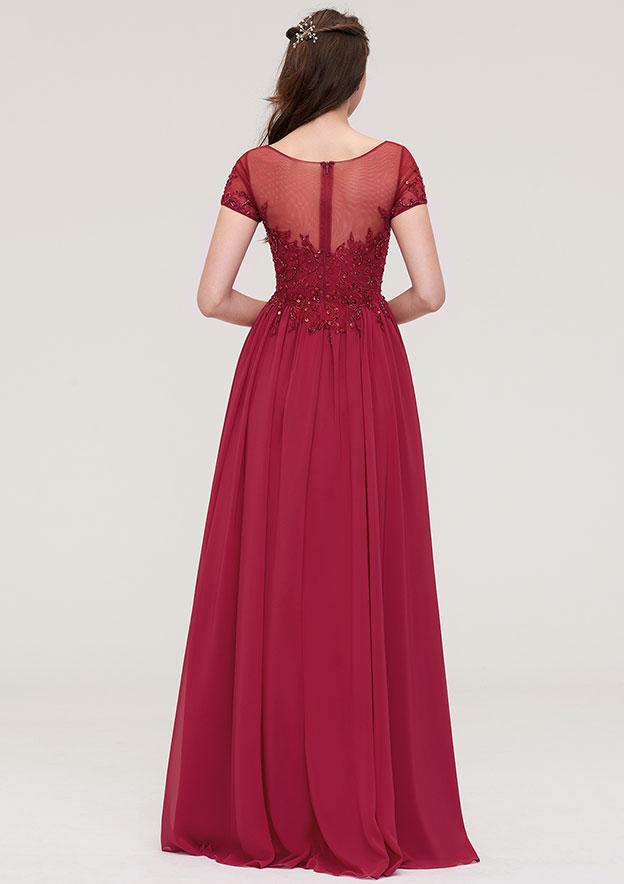 A-Line/Princess Bateau Short Sleeve Long/Floor-Length Chiffon Prom Dress With Pockets Beading
