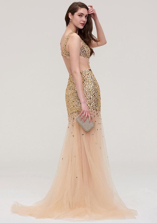Sheath/Column Bateau Sleeveless Long/Floor-Length Organza Evening Dress With Beading