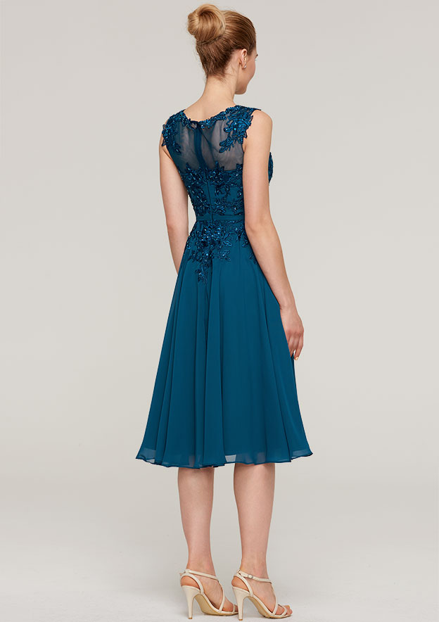 A-Line/Princess Scoop Neck Sleeveless Knee-Length Chiffon Mother Of The Bride Dress With Jacket Appliqued Beading Pleated