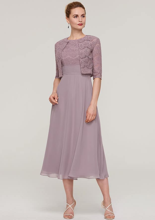 A-Line/Princess Scoop Neck Sleeveless Tea-Length Chiffon Mother Of The Bride Dress With Lace Jacket