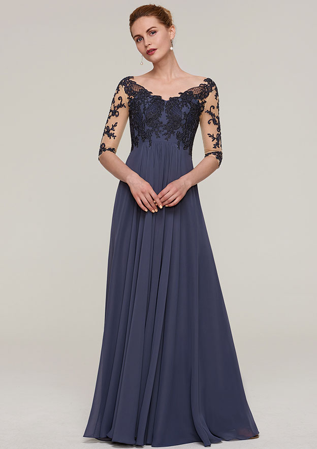 A-Line/Princess V Neck Half Sleeve Long/Floor-Length Chiffon Mother Of The Bride Dress With Appliqued