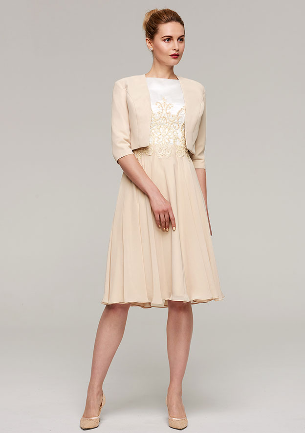 A-Line/Princess Bateau Sleeveless Knee-Length Chiffon Mother Of The Bride Dress With Appliqued Jacket