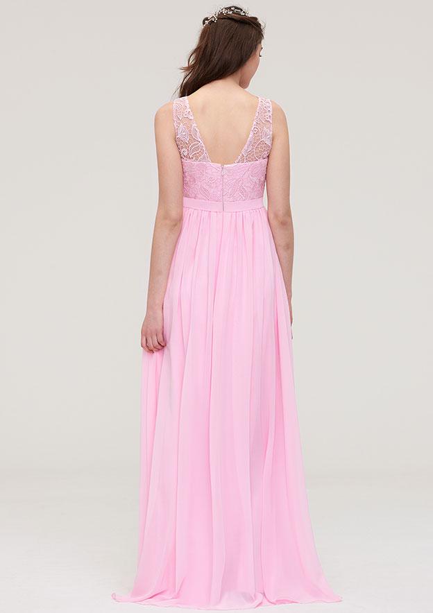 A-line/Princess Bateau Sleeveless Long/Floor-Length Chiffon Bridesmaid Dress With Lace
