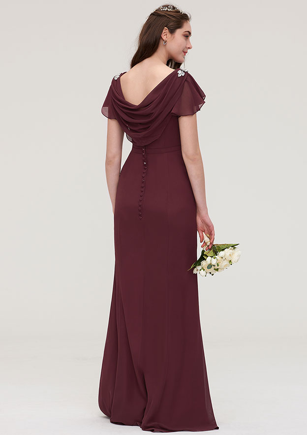 Sheath/Column Bateau Short Sleeve Long/Floor-Length Chiffon Bridesmaid Dress With Crystal Detailing Sashes