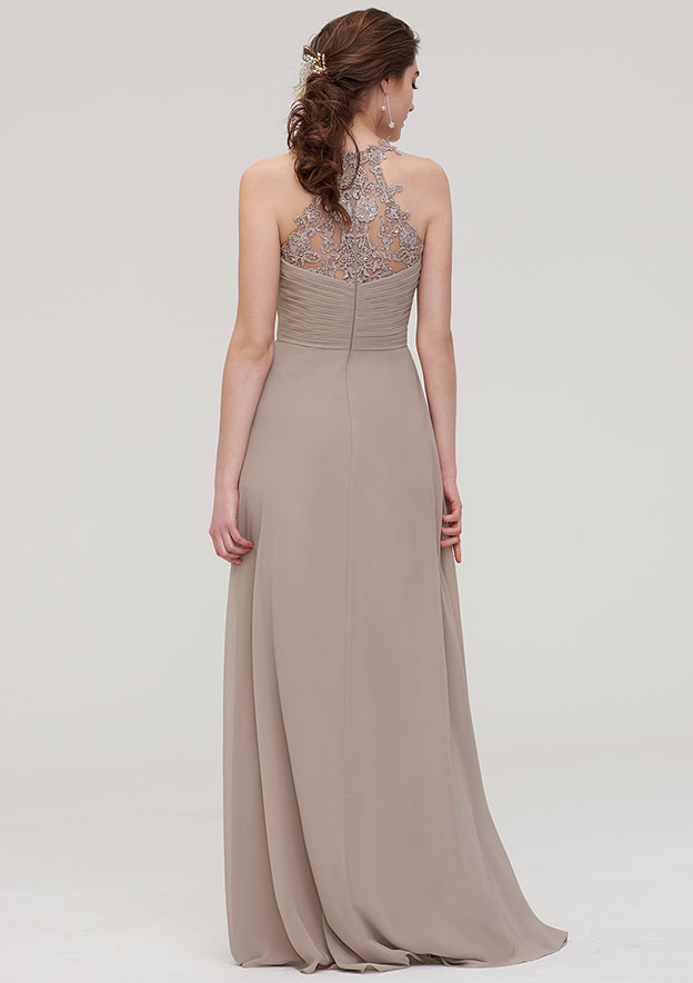 A-line/Princess Sweetheart Sleeveless Long/Floor-Length Chiffon Bridesmaid Dress With Pleated Lace
