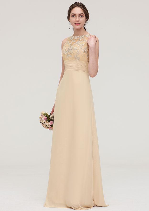 Sheath/Column Halter Sleeveless Long/Floor-Length Chiffon Bridesmaid Dress With Pleated Lace