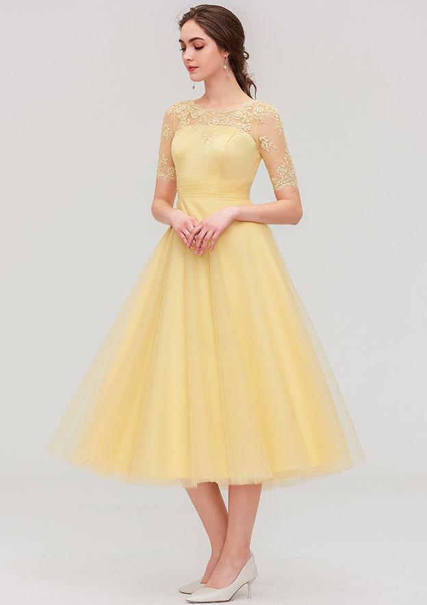 A-line/Princess Bateau Short Sleeve Tea-Length Tulle Bridesmaid Dress With Pleated Lace