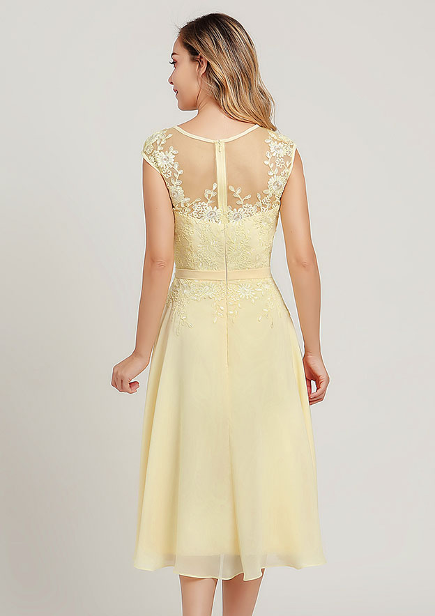 A-line/Princess Scoop Neck Sleeveless Tea-Length Chiffon Mother of the Bride Dress With Jacket Lace Sashes