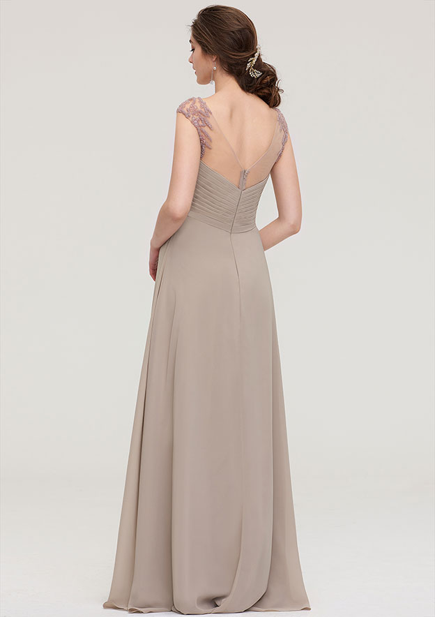 A-line/Princess Scoop Neck Sleeveless Long/Floor-Length Chiffon Bridesmaid Dress With Pleated Beading