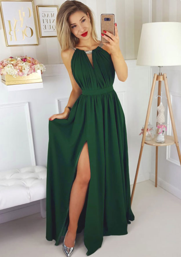A-Line/Princess Scoop Neck Sleeveless Long/Floor-Length Chiffon Prom Dress With Split