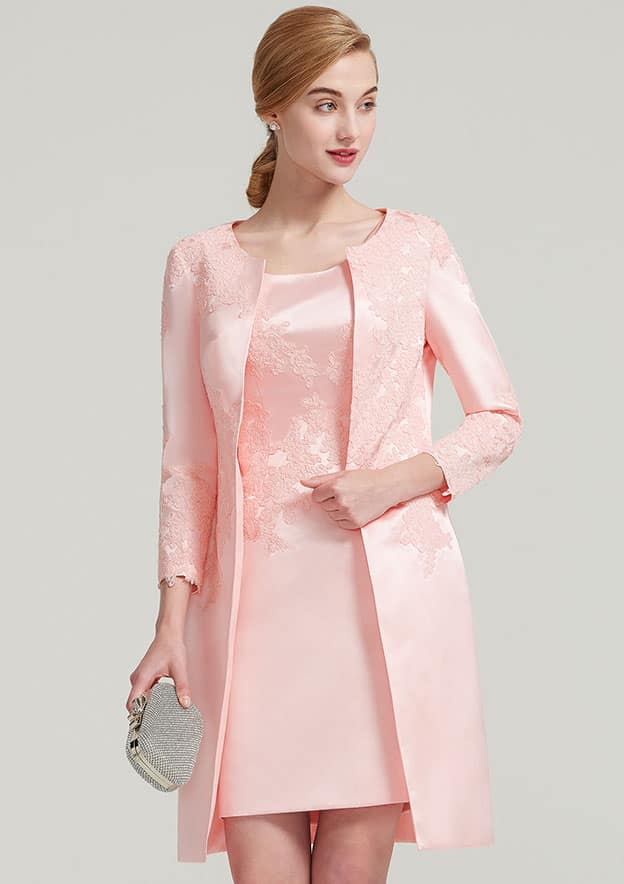Sheath/Column Bateau Sleeveless Knee-Length Satin Mother Of The Bride Dress With Jacket Appliqued