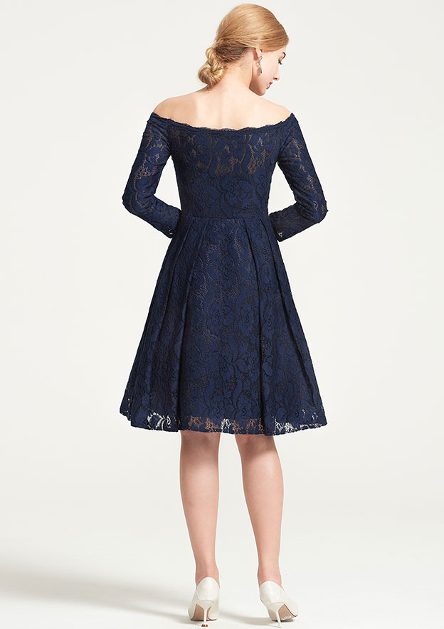 A-Line/Princess Off-The-Shoulder 3/4 Sleeve Knee-Length Lace Dress With Pleated
