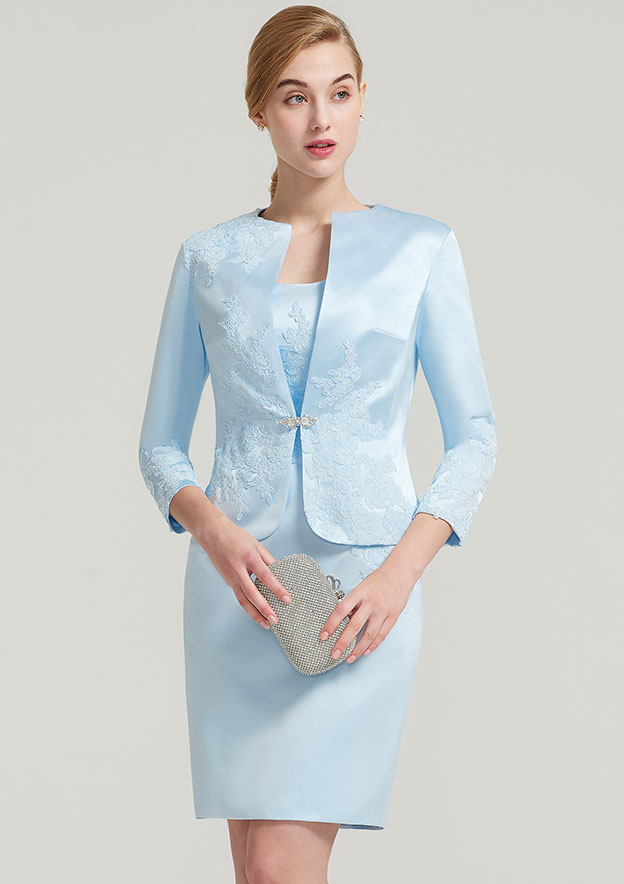 Sheath/Column Square Neckline Sleeveless Knee-Length Satin Mother Of The Bride Dress With Jacket Appliqued