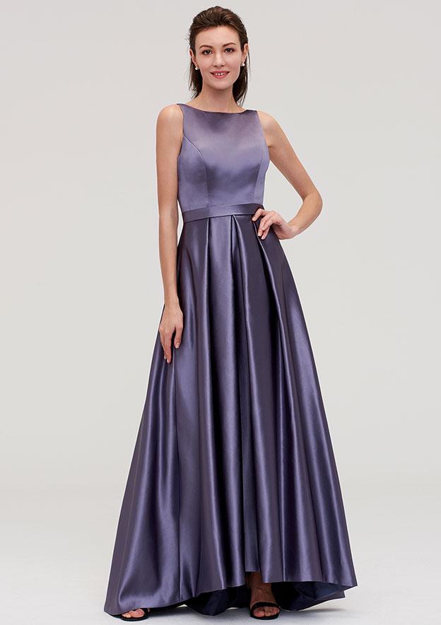 A-Line/Princess Bateau Sleeveless Ankle-Length Satin Bridesmaid Dress With Pleated