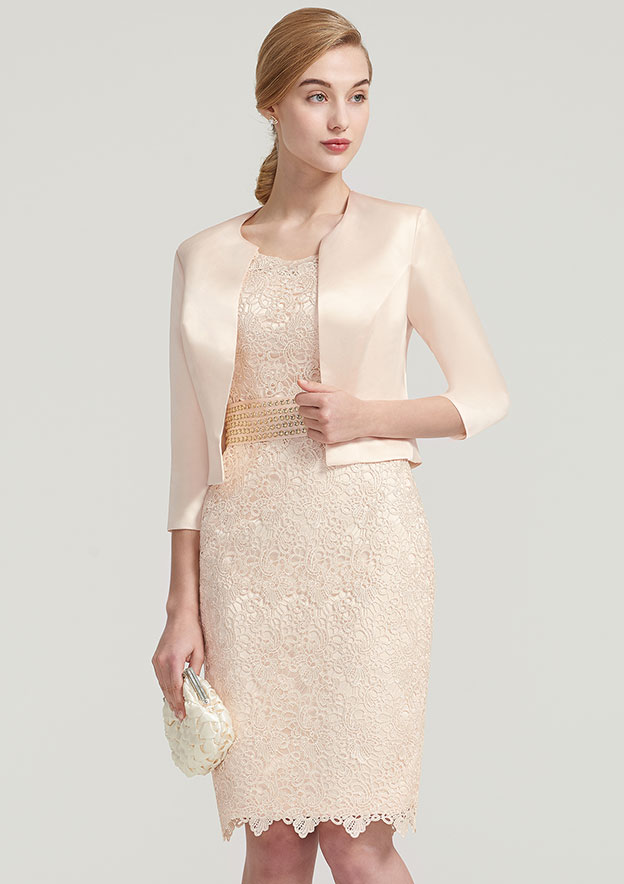 Sheath/Column Bateau 3/4 Sleeve Knee-Length Lace Satin Mother Of The Bride Dress With Jacket Beading