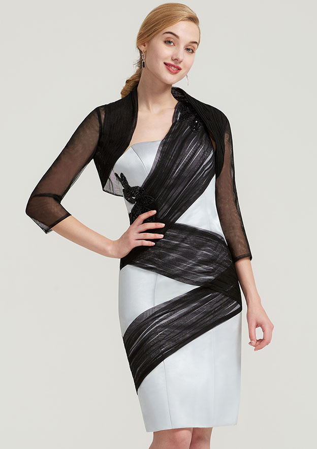 Sheath/Column One-Shoulder Sleeveless Knee-Length Satin Mother Of The Bride Dress With Jacket Appliqued Pleated
