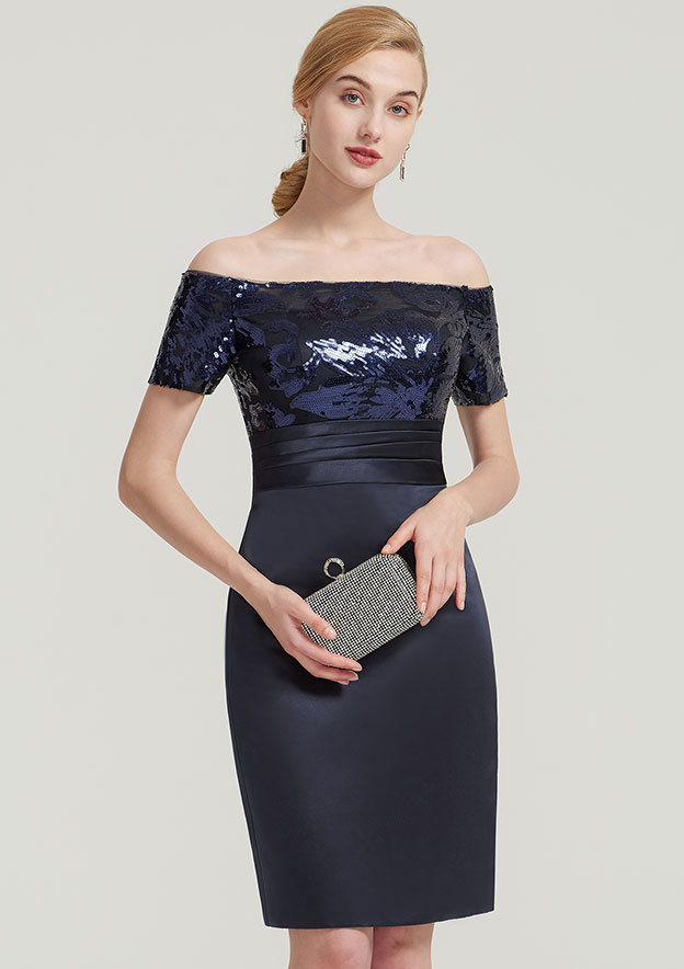 Sheath/Column Off-The-Shoulder Short Sleeve Knee-Length Satin Mother Of The Bride Dress With Sequins Pleated