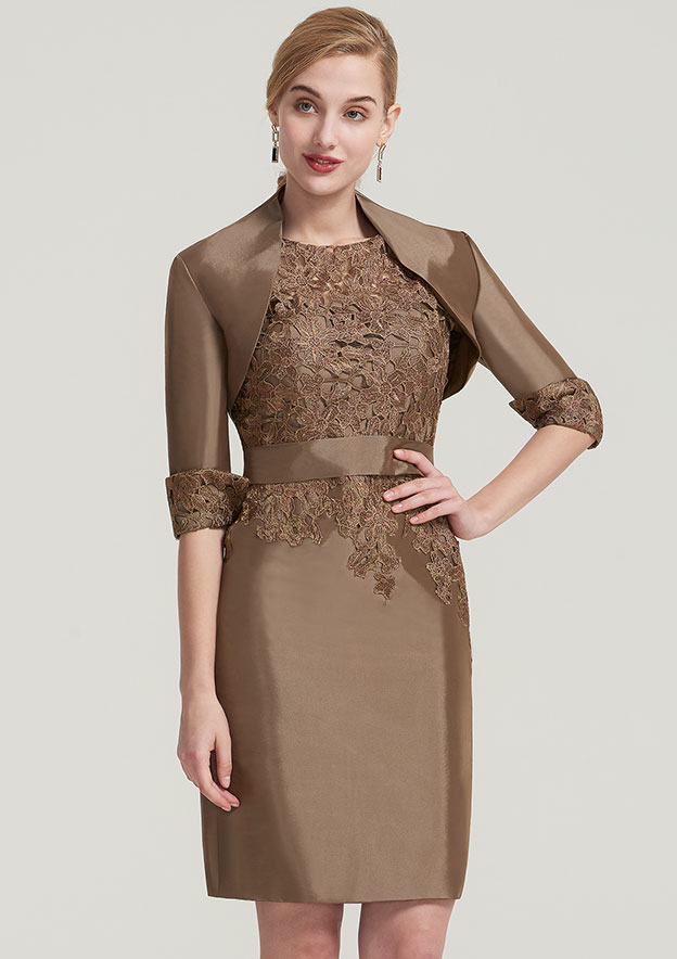 Sheath/Column Bateau Short Sleeve Knee-Length Taffeta Mother Of The Bride Dress With Jacket Waistband Appliqued