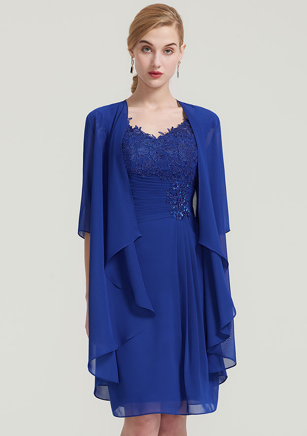 Sheath/Column V Neck Sleeveless Knee-Length Chiffon Mother Of The Bride Dress With Jacket Lace Pleated