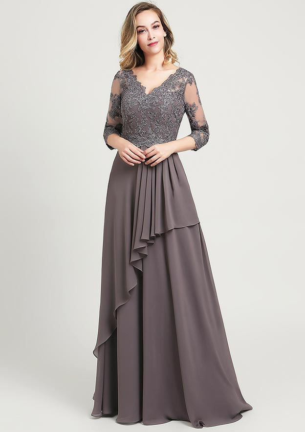 A-line/Princess V Neck 3/4 Sleeve Long/Floor-Length Chiffon Mother of the Bride Dress With Sequins Beading Lace Pleated