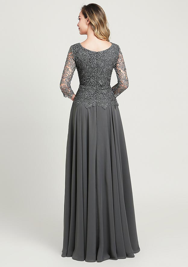 A-line/Princess Scoop Neck 3/4 Sleeve Long/Floor-Length Chiffon Mother of the Bride Dress With Sequins Beading Lace