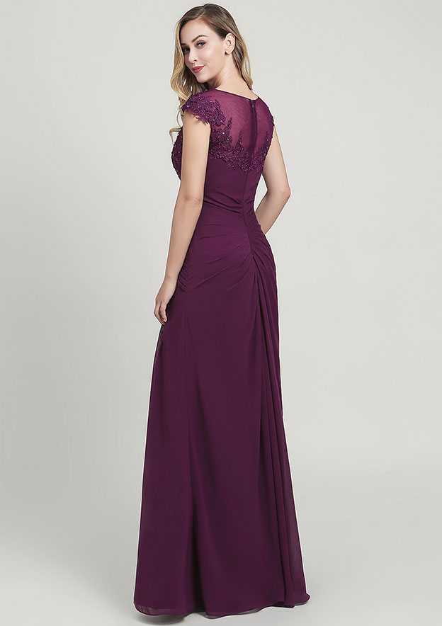 Sheath/Column Bateau Short Sleeve Long/Floor-Length Chiffon Mother of the Bride Dress With Split Appliqued Pleated Sequins