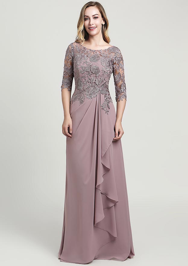 A-line/Princess Scoop Neck Half Sleeve Long/Floor-Length Chiffon Mother of the Bride Dress With Ruffles Lace