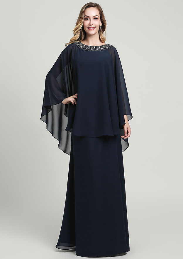 A-line/Princess Scoop Neck 3/4 Sleeve Long/Floor-Length Chiffon Mother of the Bride Dress With Beading Sequins