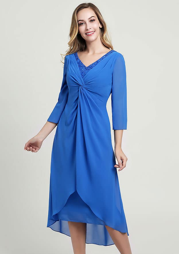 A-line/Princess V Neck 3/4 Sleeve Asymmetrical Chiffon Mother of the Bride Dress With Pleated Lace Beading