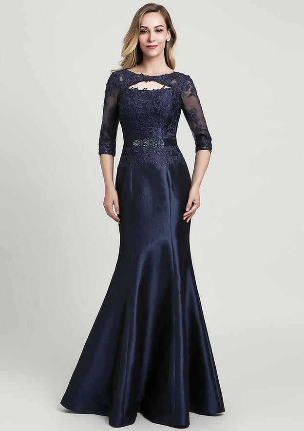 Trumpet/Mermaid Scoop Neck Half Sleeve Long/Floor-Length Taffeta Mother of the Bride Dress With Beading Lace