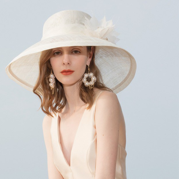 Ladies' Pretty/Elegant/Glamourous Linen Tea Party Hats/Kentucky Derby Hats/Beach/Sun Hats With Feather